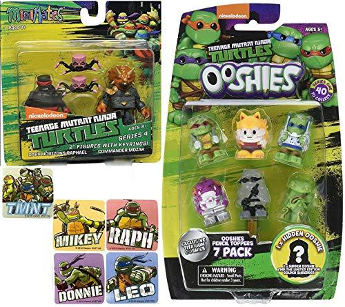 Mozar TMNT Mini & Soft Series Teenage Mutant Ninja Turtles Figures Bundled with + Ooshies Pencil Toppers 7 Pack + Minimates Dark Horizons Raphael Figure Pack 2 Items + Bonus Stickers Leo / Don -