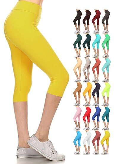 24ac557f359 LYCPX128-YELLOW Yoga Capri Solid Leggings