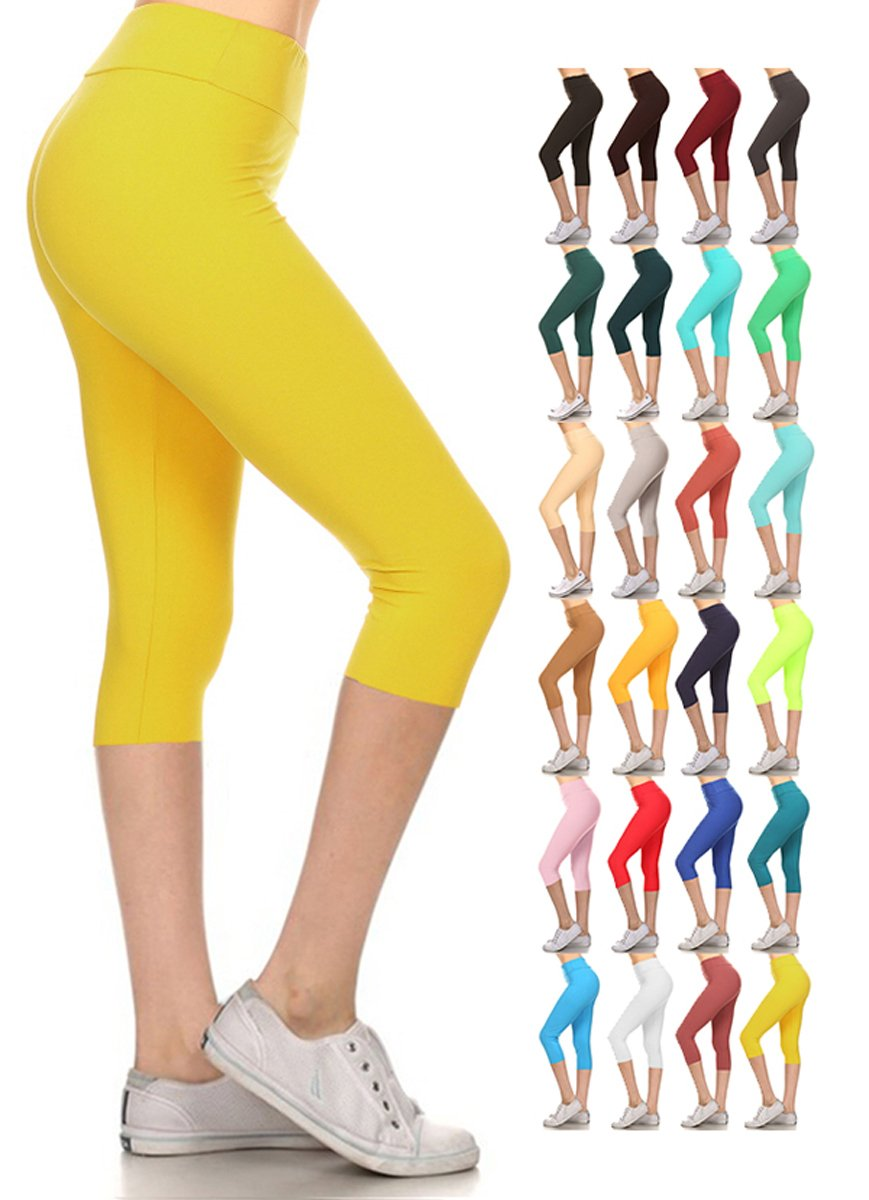 Leggings Depot Women's Yoga Gym High Waist reg/Plus Solid and Printed Workout Capri Leggings Pants 16+Colors