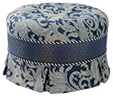 Jennifer Taylor Home Hallie Collection Contemporary Design Hand Tufted With Double Cord and Pleated Skirt Living Room Round Ottoman, Blue