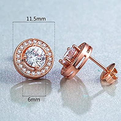 18K Rose Gold Plated Cubic Zirconia//Opal Big Stud Earrings Hypoallergenic Studs for Women with Sensitive Ears