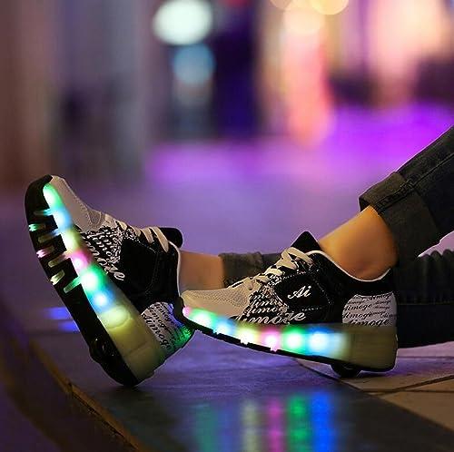 Zapatillas Heelys para niños con ruedas y luces LED, color azul, rosa y negro, ideales para verano: Amazon.es: Zapatos y complementos