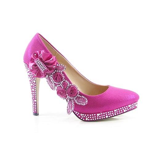 Ktc Womens Glitter Gorgeous Crystal Wedding High Heel Shoes