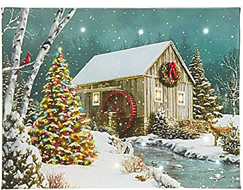 Cabin with Waterwheel in the Woods Wintertime in the Snow LED Lighted Canvas Art ()