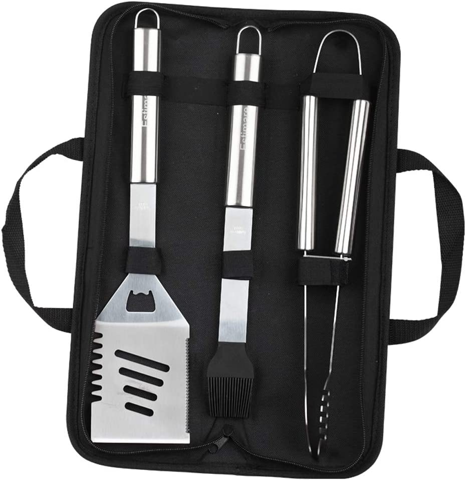 Estimare BBQ Grill Tools Set – 3 Piece Stainless Steel Barbecue Grilling Accessories with Portable Case, Spatula, Tongs, Basting Brush