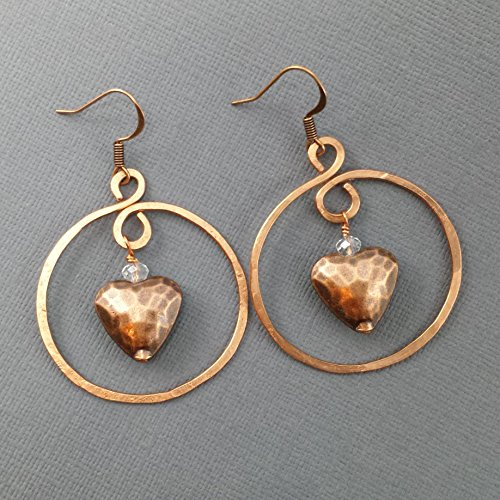 Artisian Crystal (Hand Hammered Copper Hoop and Copper Hammered Puffy Heart)