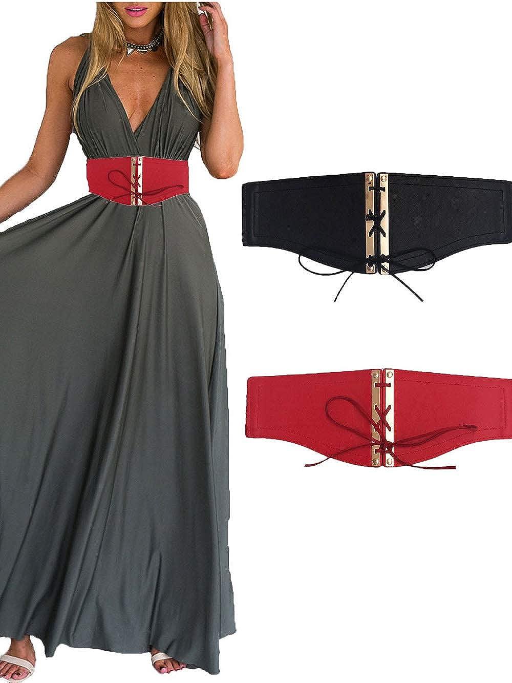 PACU 2 Pezzi Cintura Vita Alta Elasticizzata Donna Larga Elastica Nera Rosso Pelle Modo Elegante Accessori Cuoio Regolabile con Fibbia Oro Cintura Obi Sottile Decorativa per Vestito Jeans Ragazze