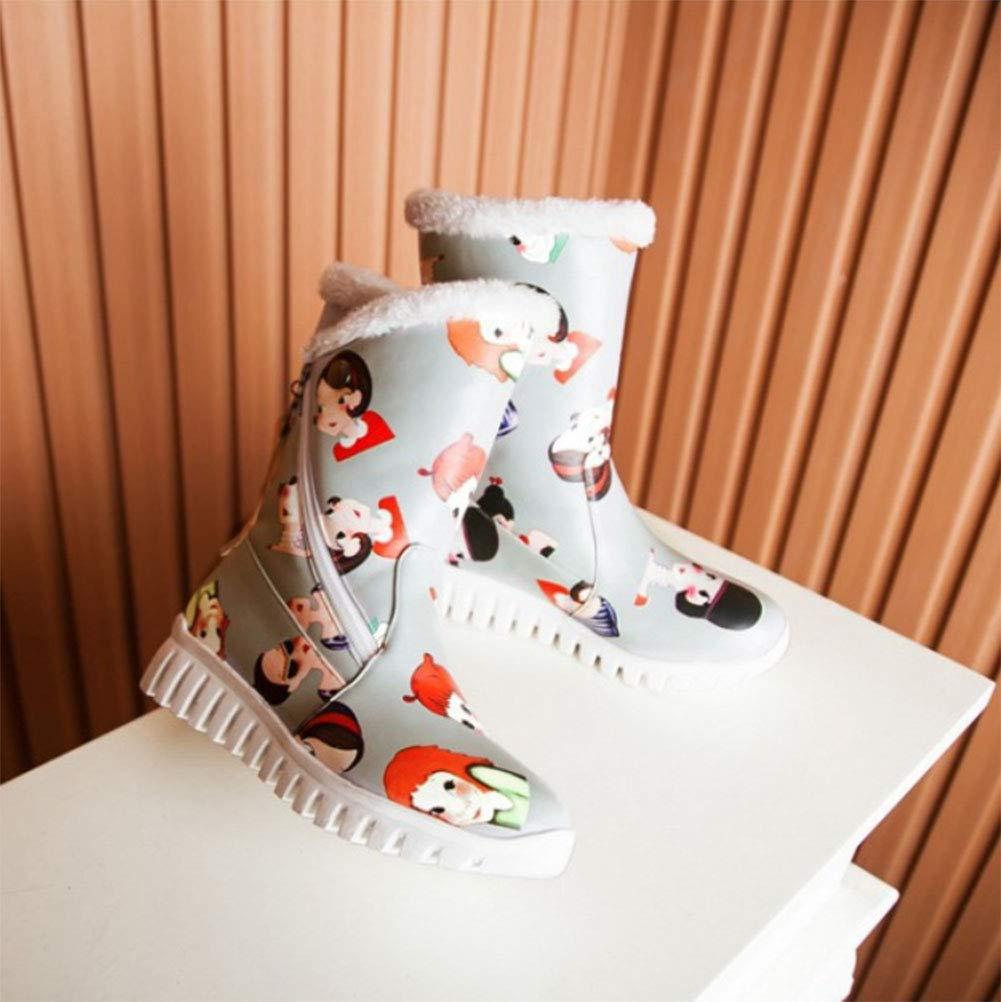 HRN Frauen Schnee Stiefel Farbe Farbe Farbe Oberfläche Dicke Basis runden Kopf flach mit Stiefel seitlichen Reißverschluss Quaste Cartoon Muster Dekoration Dicke warme Baumwolle Schuhe Winter,grau,34EU fbf91d