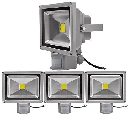 4pcs 30W Foco LED con Sensor Movimiento,ALPHA DIMA Foco Proyector con Iluminación LED y