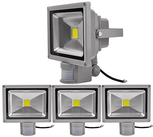 4pcs 30W Foco LED con Sensor Movimiento,ALPHA DIMA Foco Proyector con Iluminación LED y PIR Sensor de Movimiento(30 Watts,Blanco Frío),Resistente al ...