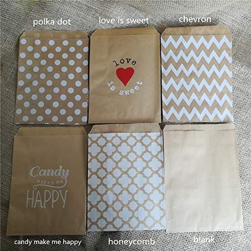 Xiaogongju 100Pcs Paper Bags Stringing Food Quality Craft Brown Kraft Favor Candy Snack Bags Gift Treat Paper Bags Party Favor 5 X 7 Inch -