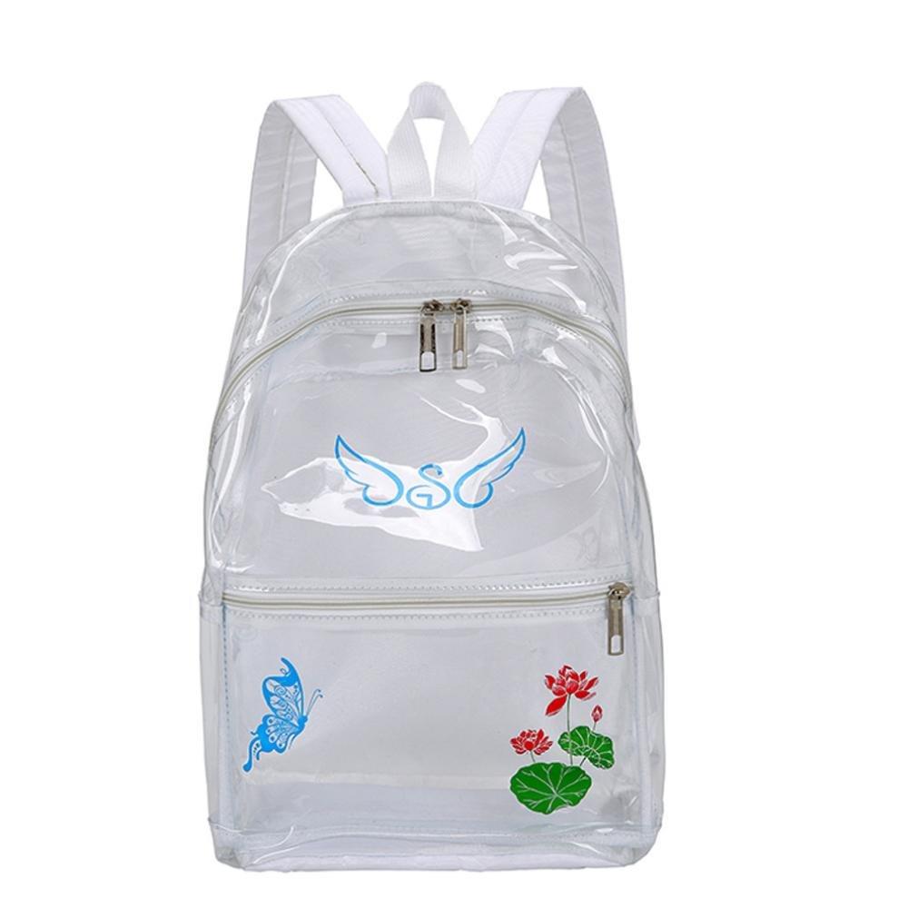 YJYDADA School Bag,Girl Plastic Transparent School Bag Backpack Printingl Women Trave Shoulder Bag (White)