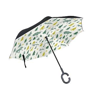 jstel doble capa diseño de alce Fox liebre oso búho paraguas coches Reverse resistente al viento