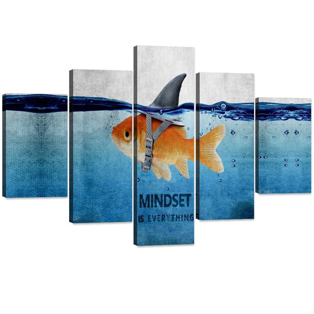 """5 Panels Inspiration Wall Art Picture Creative Goldfish Big Shark Canvas Painting Mindset is Everything Poster Print Artwork Home Decor for Living Room Bedroom Office Framed Ready to Hang (60""""Wx40""""H)"""