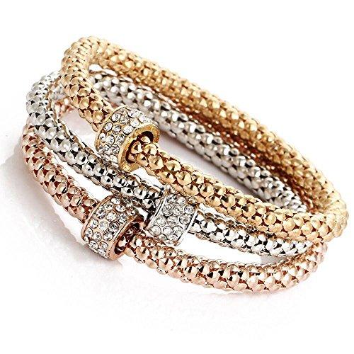 Morecome Women 3pcs Charm Bracelet Gold Silver Rose Gold Rhinestone Bangle Jewelry Set (C) ()