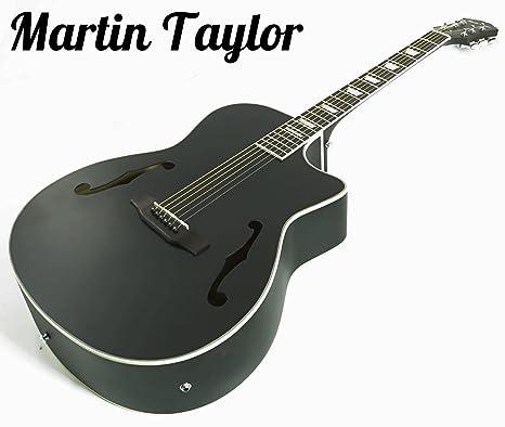 Guitarra eléctrica semiacústica Martin Taylor con cuerpo hueco de color negro mate satén y púas Fender
