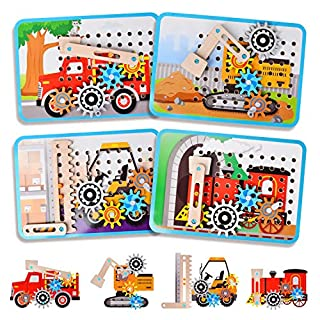 LUKAT Toys for 3 Year Old Girls, STEM Wooden Gear Toys with Four Cars: Excavator, Fire Trunk, Stacker, Train, Educational Wooden Puzzles Toys Gift for Age 3+ Boys and Girls (Wooden Puzzle)