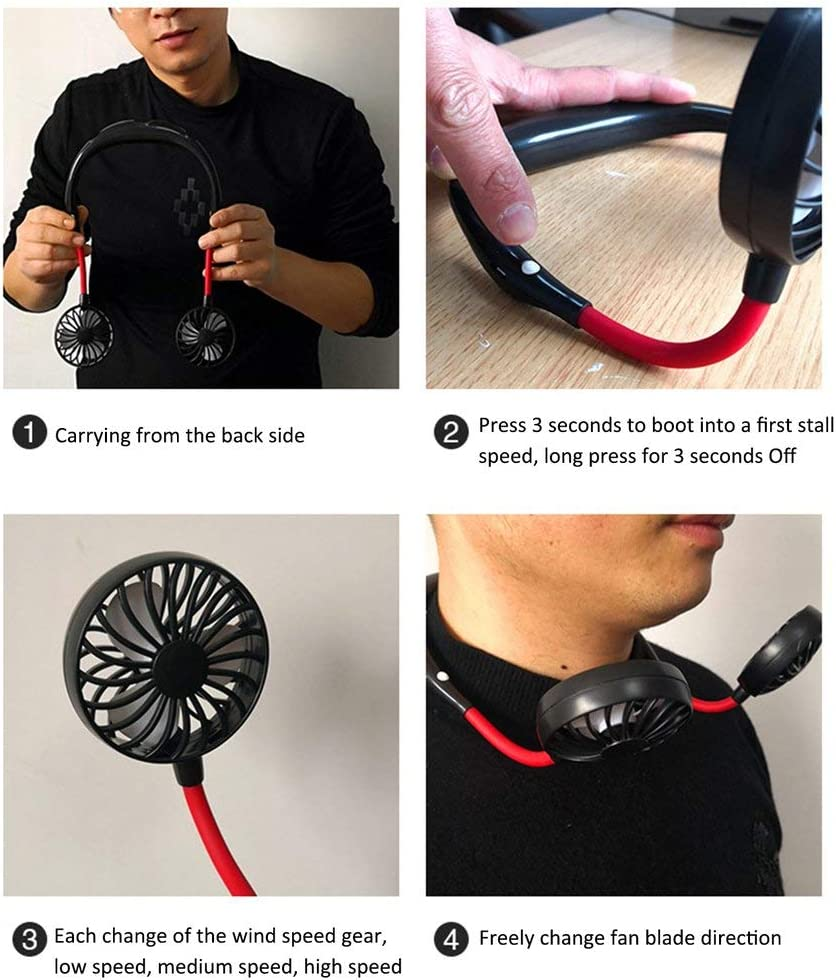 USB Wearable Neckband Fan Aromatherapy and 360/° Adjustable Swivel for Working Home Outdoor CawBing Hands Free Necklace Fan Rechargeable Portable Personal Neck Fan Cooling with 3 Speed Setting