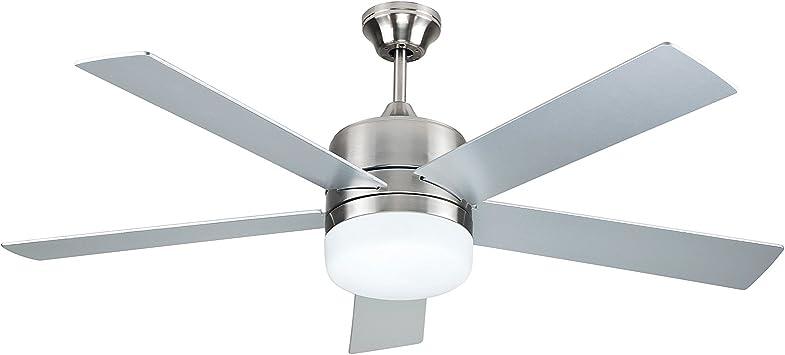 Sulion 075653 DENEL - Ventilador de techo con luz y mando a distancia, gris o nogal/níquel: Amazon.es: Hogar