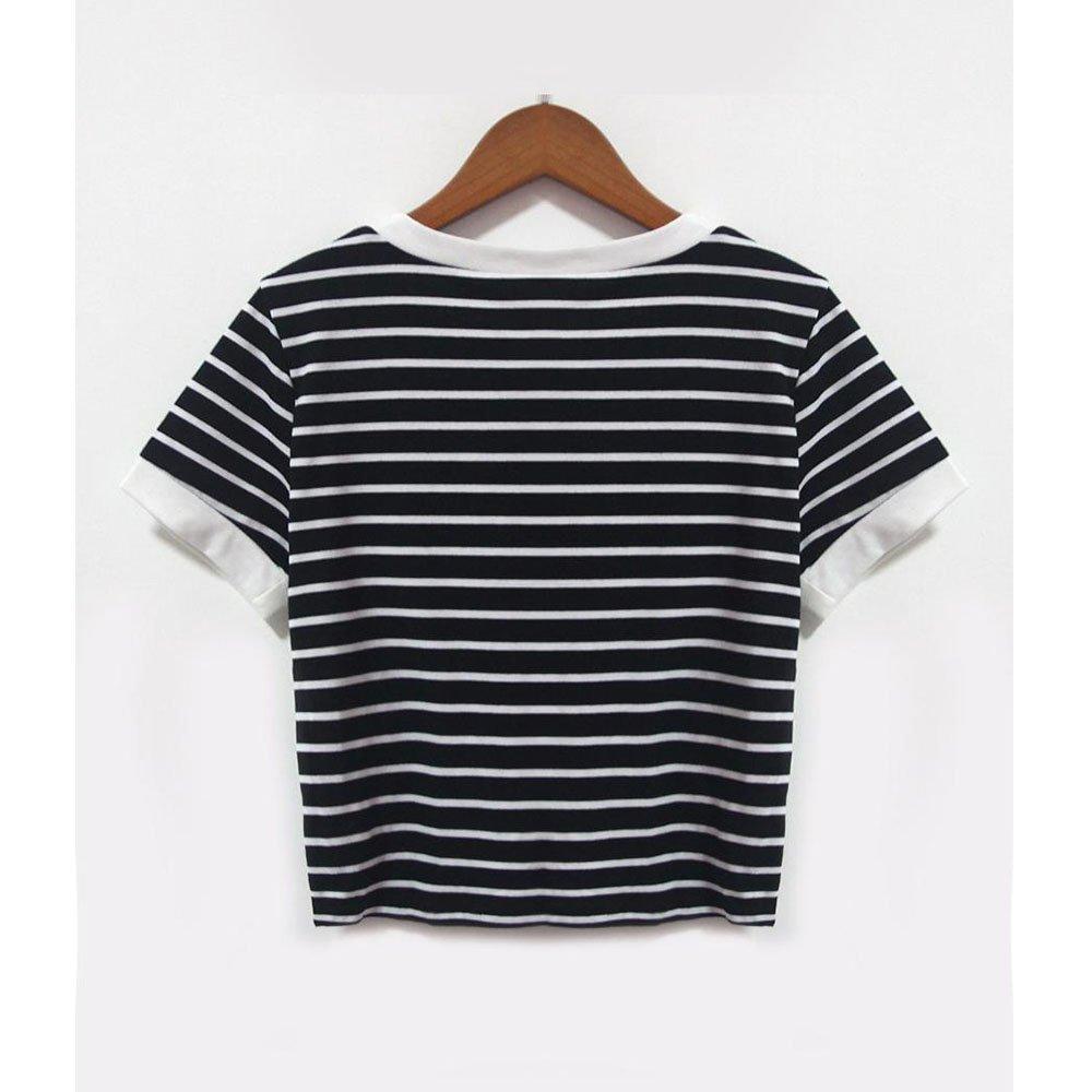 273d43b6afe9a Women teen girls striped cute crop top belly shirt summer tee shirt blouse  sale clearance clothing