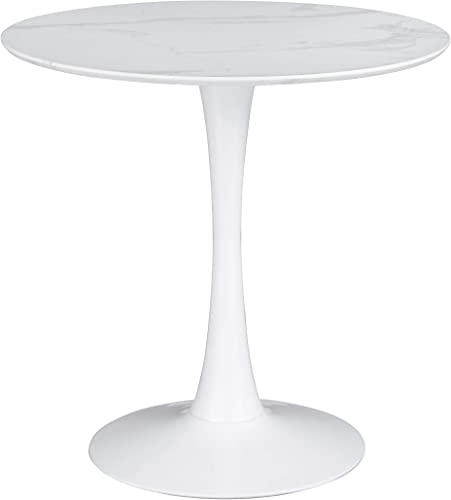 Coaster Home Furnishings Arkell 30-inch Round Pedestal White Dining Table