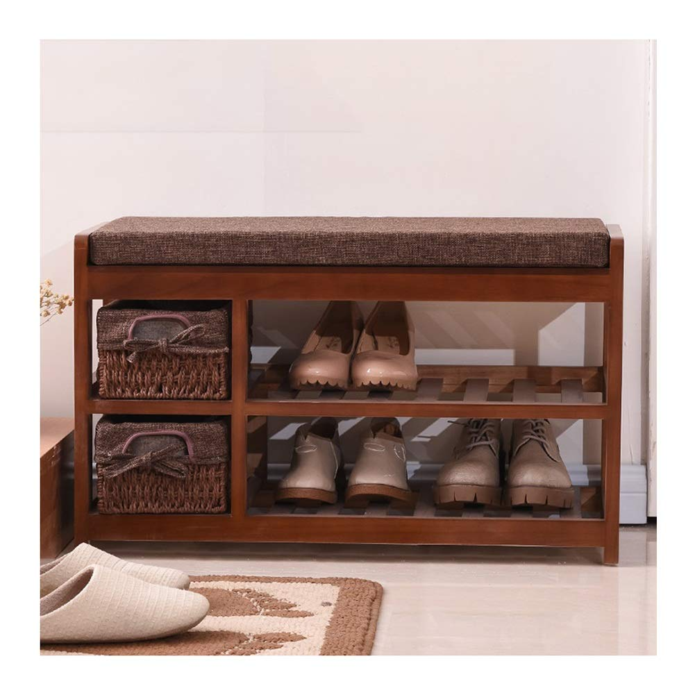 White 70x28x42cm CAIJUN Footstool shoes Shelf Rack Solid Wood Thick Cotton Pad Storage Washable No Need to Install, 3 colors, 3 Sizes (color   White, Size   80x34x45cm)