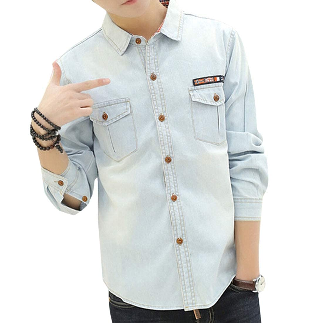 Qiangjinjiu Mens Turn Down Collar Shirt Long Sleeve Casual Denim Button Down Blouse