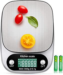Digital Kitchen Scale 5000g/0.1g Multifunction Electronic Food Weight Gram Ounce 11lb/G OZ ML CT KG TL LB FL:OZ/Stainless Steel/High Precision/Tare Digital Food Scale Cooking Baking,Batteries Included