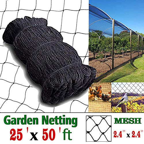 "COMPATH Bird Netting Heavy Duty Garden Net Protect Plants and Fruit Trees Protective Netting 2.4"" Square Mesh Size (25"