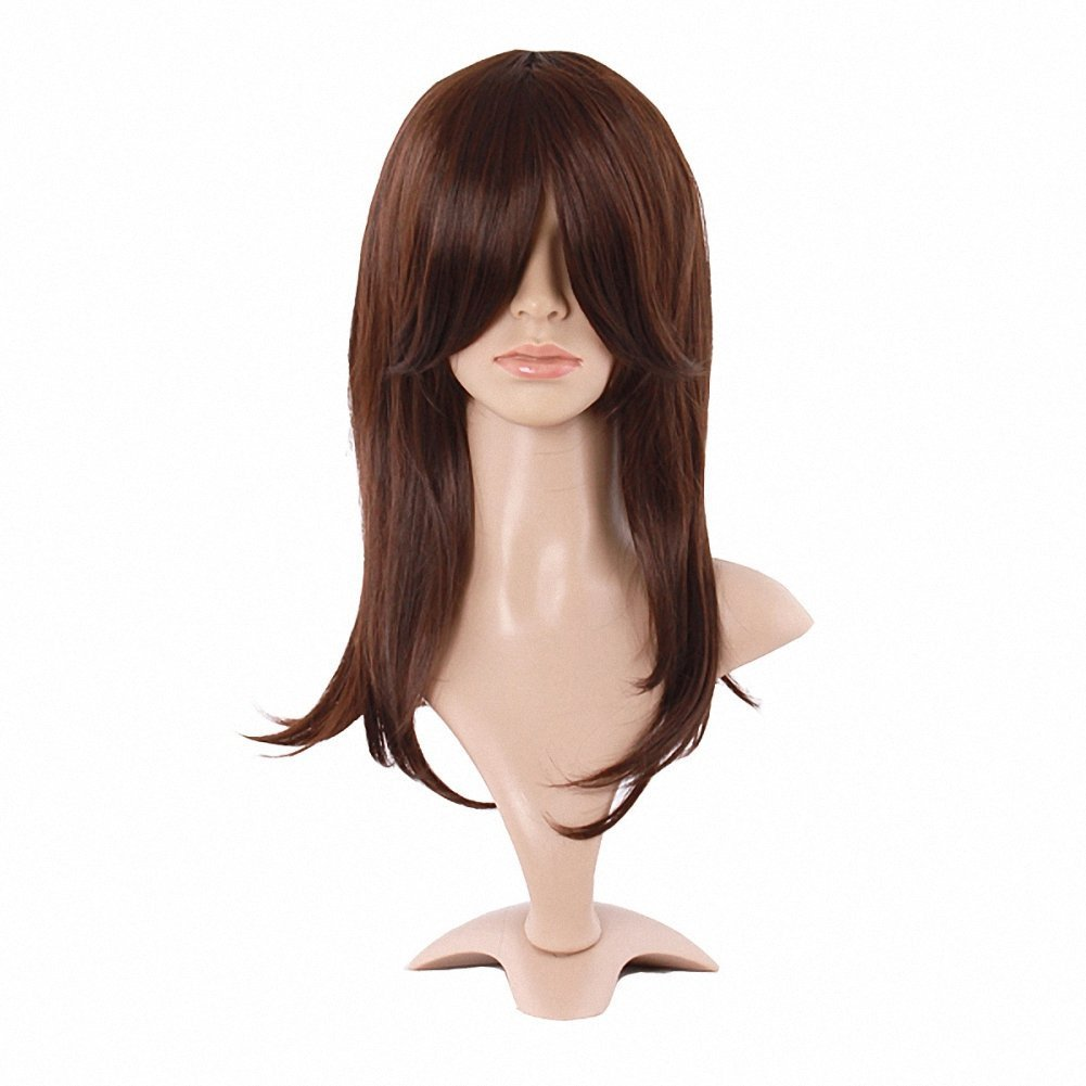 MapofBeauty Synthetic Dark Brown Medium Length Wigs Straight Wigs