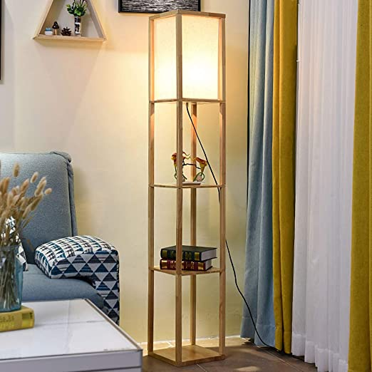Lámparas De Pie LED, Estante Blanco Lámpara De Pie con Estantes Luz De Pie De Madera para El Hogar Moderno para Sala De Estar Dormitorio Oficina: Amazon.es: Hogar