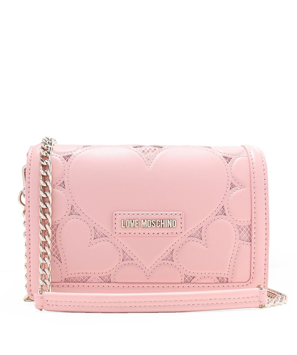 Love Moschino Women's Leather Fold Over Clutch Bag One Size Pink