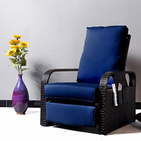 Outdoor Wicker Recliner Chair With 5.12u0027u0027 Thickness Cushions, Automatic  Adjustable Rattan Patio Chaise