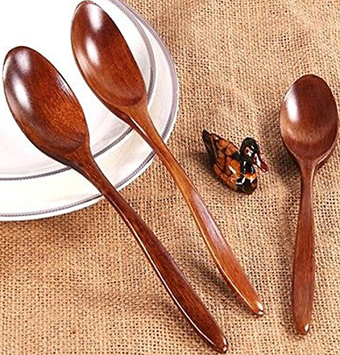 Checkout FD3279 Wooden Teaspoon Coffee Kitchen Cooking Condiment Utensil Spoon 18CM 1PC save