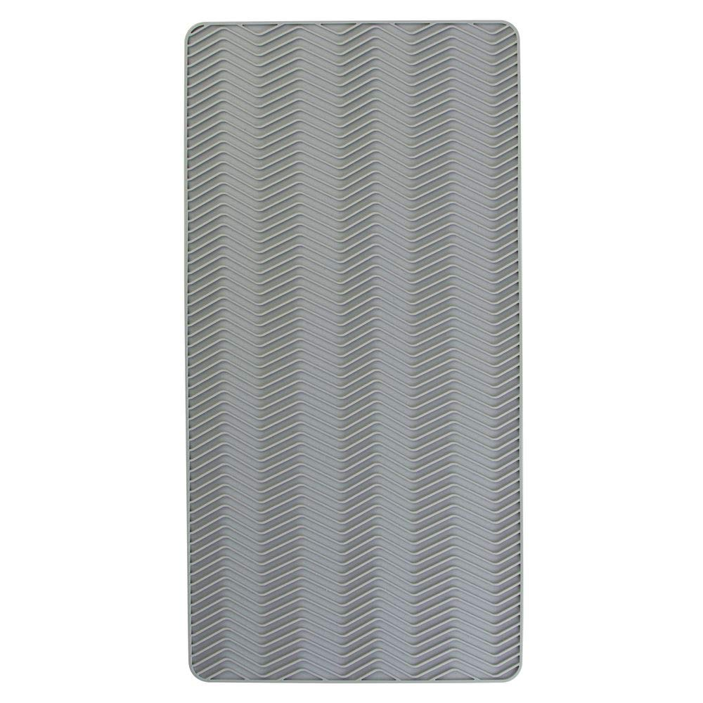 Gray by MetroDecor Small mDesign Silicone Chevron Dish Drying Mat for Kitchen Countertops