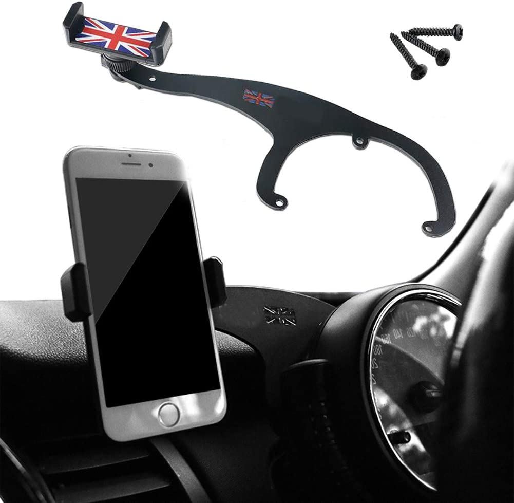 GTinthebox Smartphone Cell Phone Cup Mount Holder with Cradle Rotatable Clip (Red & Blue Union Jack Flag Style, 3.5-5.5 Inch Phone) for Mini Cooper R60 R61, 1 Pack