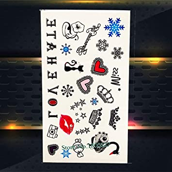 Zzebra Px417 Lovely Quotes Black Temporary Tattoo Lettering Words Fake Flash Waterproof Tattoo Stickers For Kids Children Women Body Art Arm Amazon In Beauty