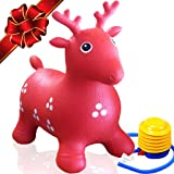 ToysOpoly Rides on Toys Inflatable Bouncer - Best for Toddlers, More Safety than bouncy balls, Best Gifts + Free Foot Pump, Heavy Duty Rubber (Red)