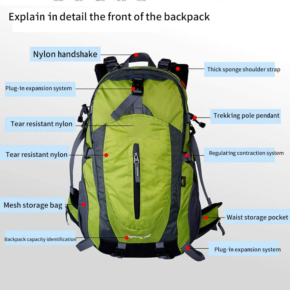 IhDFR Mountaineering Bag Shoulders Men and Women Professional Travel Hiking Large Capacity Water Repellent Outdoor Backpack 40L Suspension Carrying System