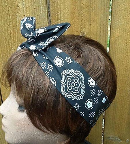 - Wired Headband Dolly Bow Black Handkerchief Bandana Wired Dolly bow Rockabilly Wire Scarf Headband Bohemian Rabbit Ears