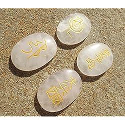 Set 4 Rose Quartz Crystal Reiki Symbol Stones Engraved Oval Shaped