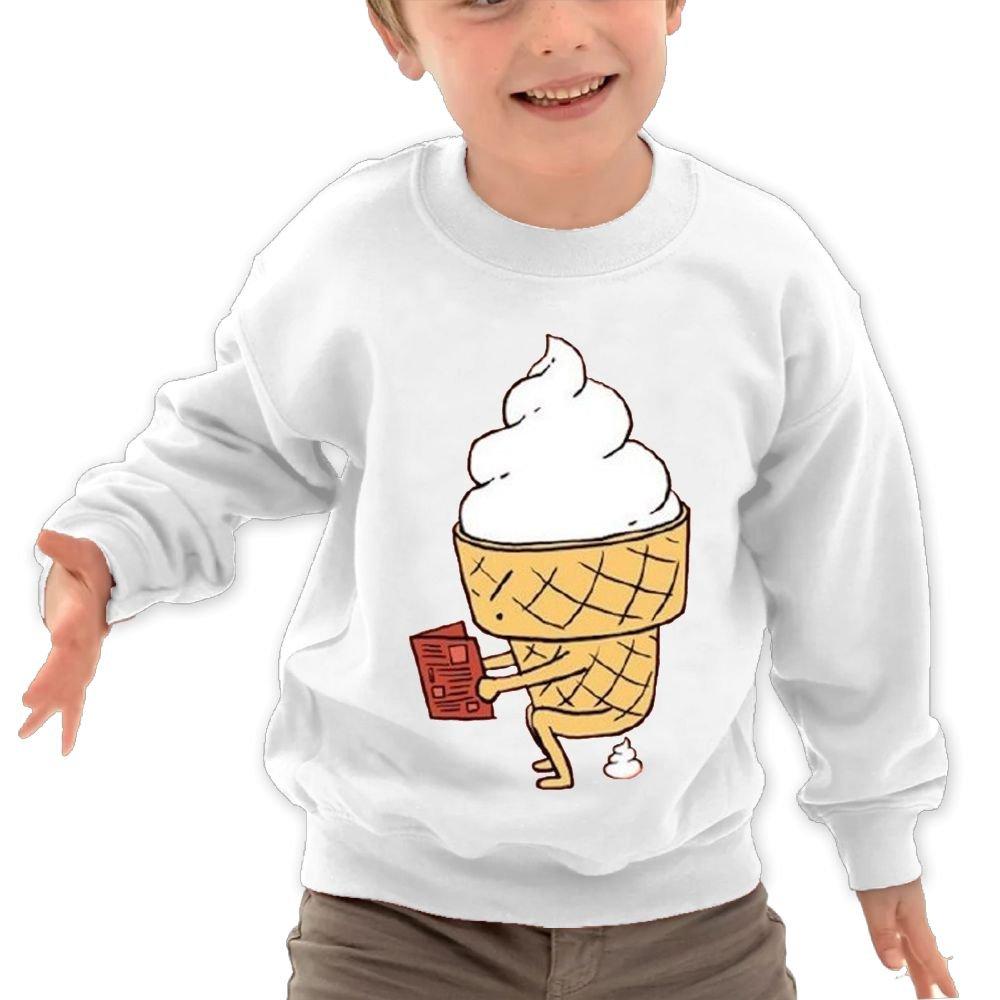 Anutknow Ice Cream Cartoon Reading Boosk Pooping Childrens Round Neck Soft Hoodies Sweatshirt