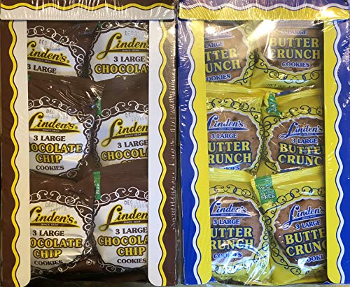 Linden's Variety Bundle, Butter Crunch + Chocolate Chip Cookies, 3 Cookies Per Pack, 2 18 ()