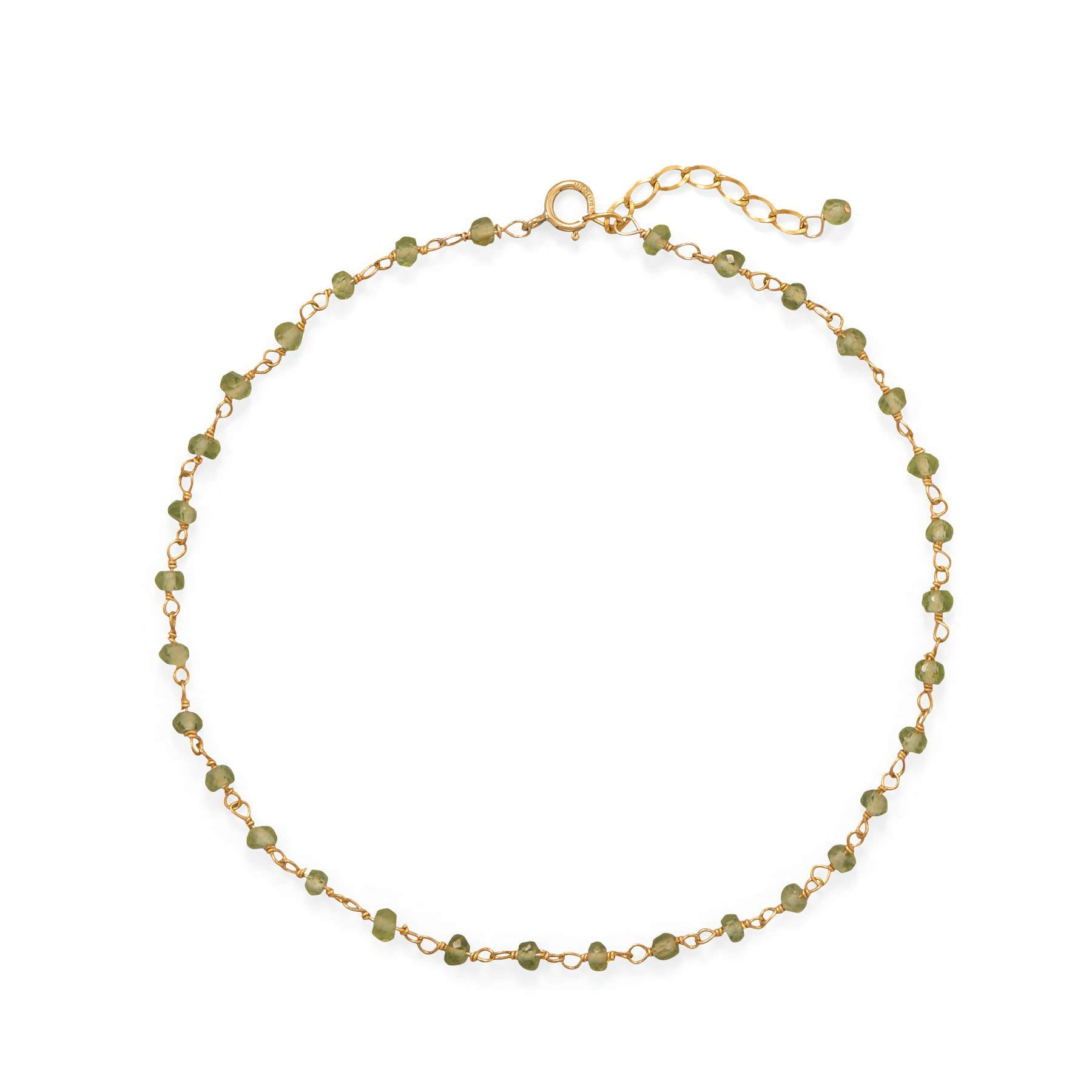 Precious Stars Jewelry 14k Gold Plated Sterling Silver Green Peridot Anklet