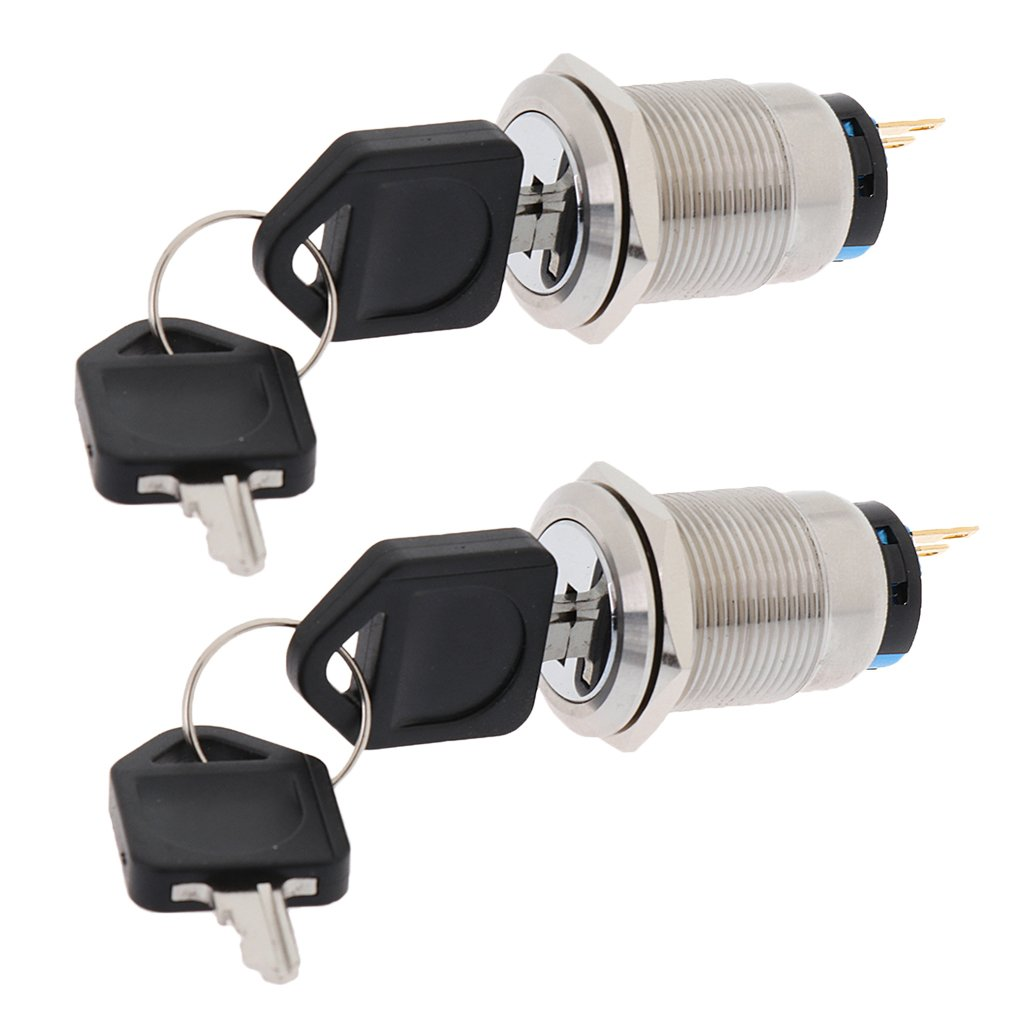 Homyl 2 Pieces Stainless Steel Ignition Key Push Button Self Locking Switch 19mm For Car Mini Silver Auto Durable Boat