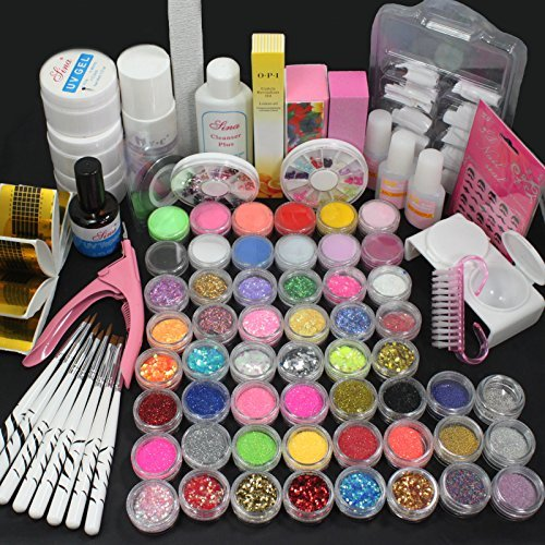 US Seller! 27 in 1 Combo Full Set Professional Acrylic Liquid Nail Art Brush Pen Glue Glitter Strip Shimmering Powder Hexagon Slice Toe Finger Separator Buffer Block Decorations Frech Tips Tool Kit by RY