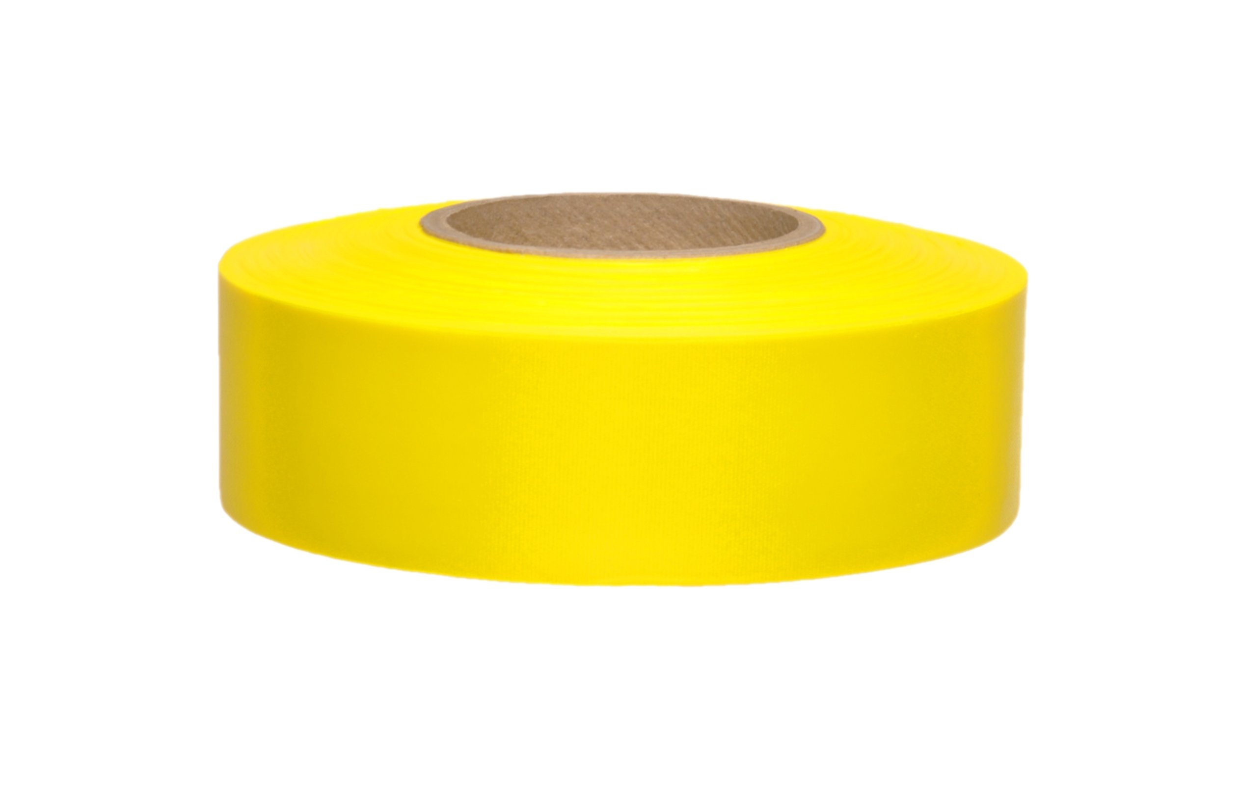 Presco TFYG-658 150' Length x 1-3/16'' Width, PVC Film, Taffeta Yellow Glo Solid Color Roll Flagging (Pack of 144)