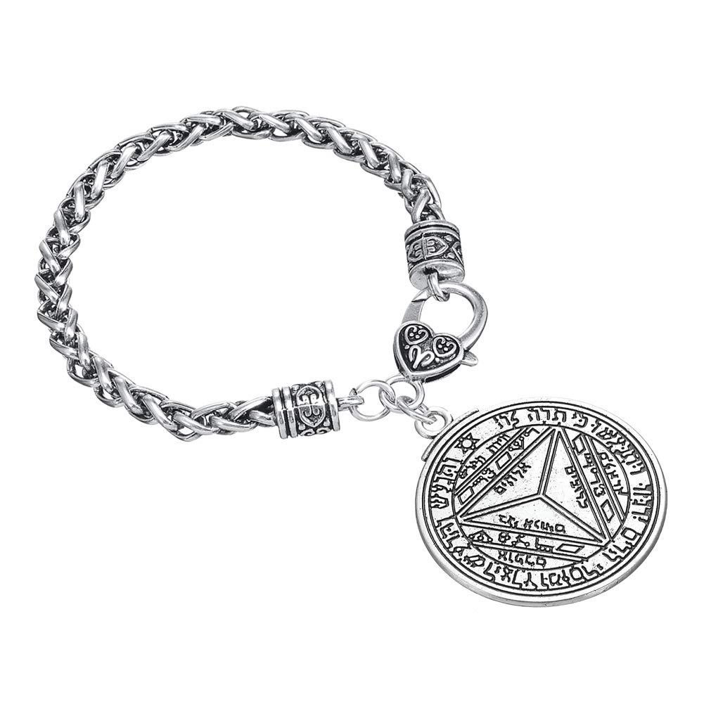 Talisman of Saturn 2nd and 7th Pentacle Pewter Power Charm Wheat Link Bracelet