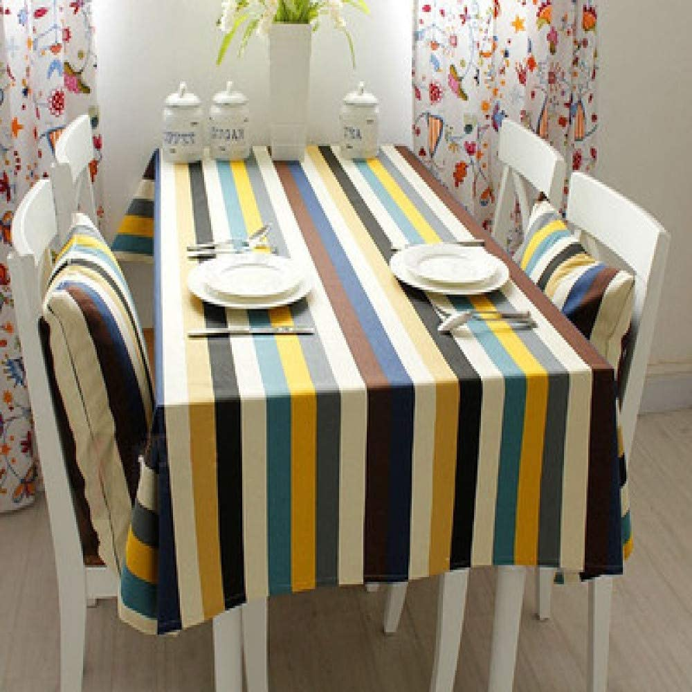 DJUX Mantel a Rayas para Mesa de café o Mesa de café, pequeño, Oficina Fresca, A, 130 * 180cm