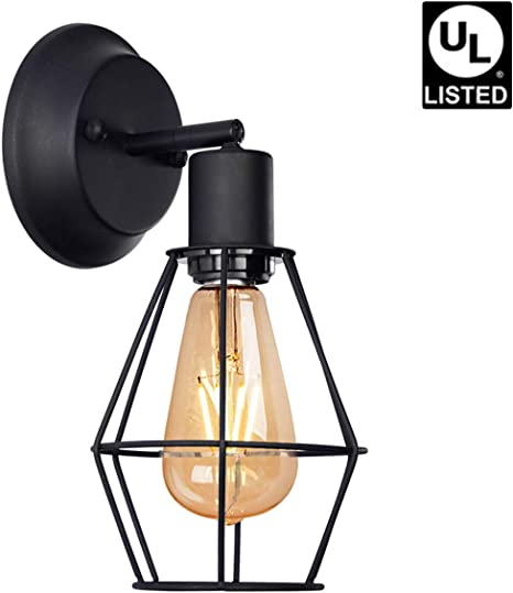 Retro Cage Wall Sconce Lamp Plug in Cord with Switch Dimmable Metal Industrial Wall Light Shade Vintage Style Edison Mini Antique Fixture for Headboard Bedroom Garage Porch Mirror 2 Pack No Bulb